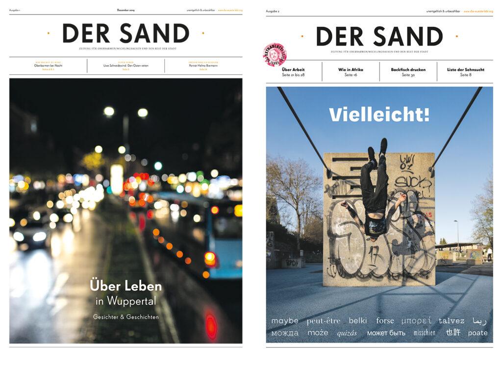 Die Frontcover der ersten und zweiten Ausgabe der Quartierszeitschrift DER SAND